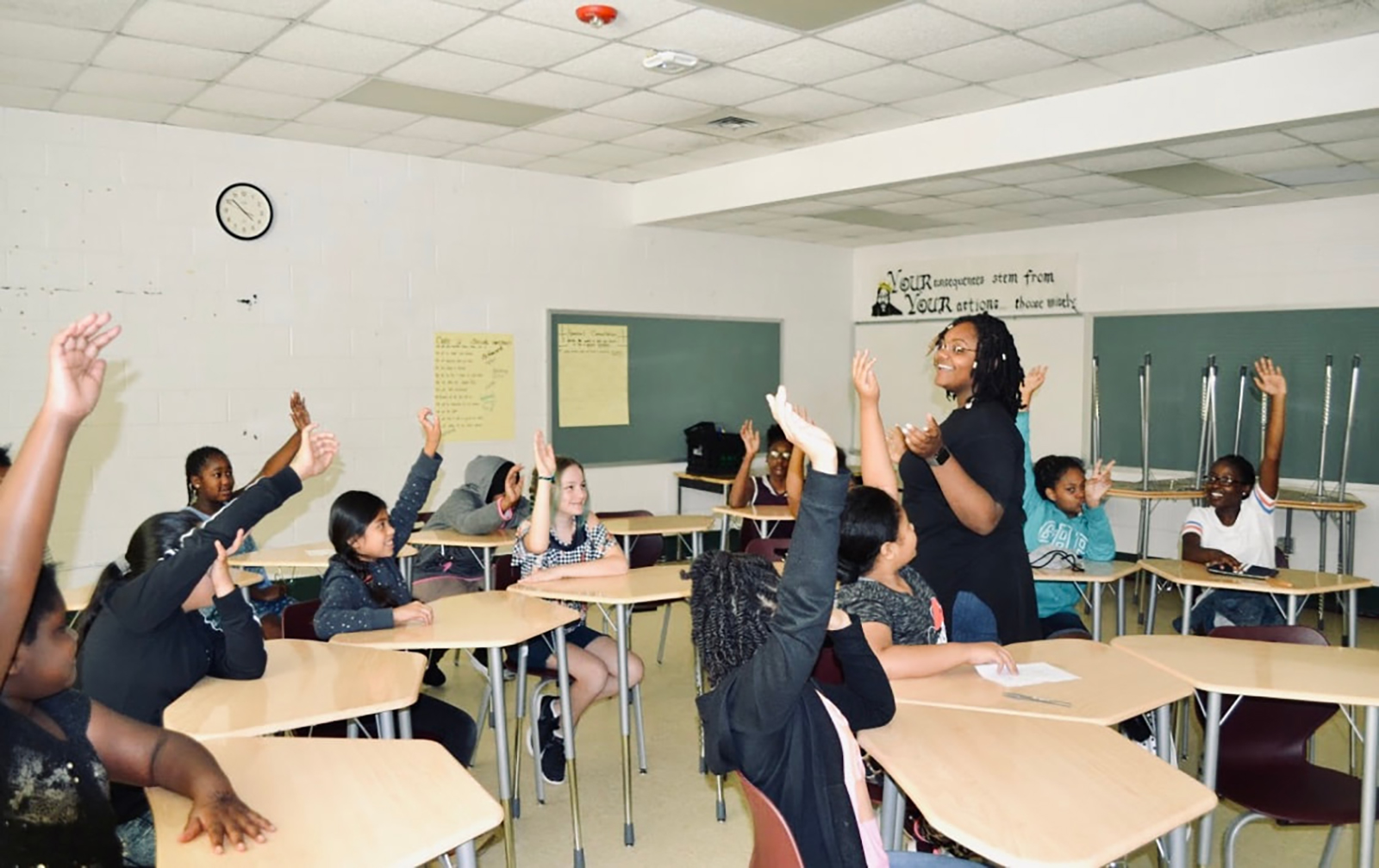 MSA student Brittanie Howard teaching in classroom