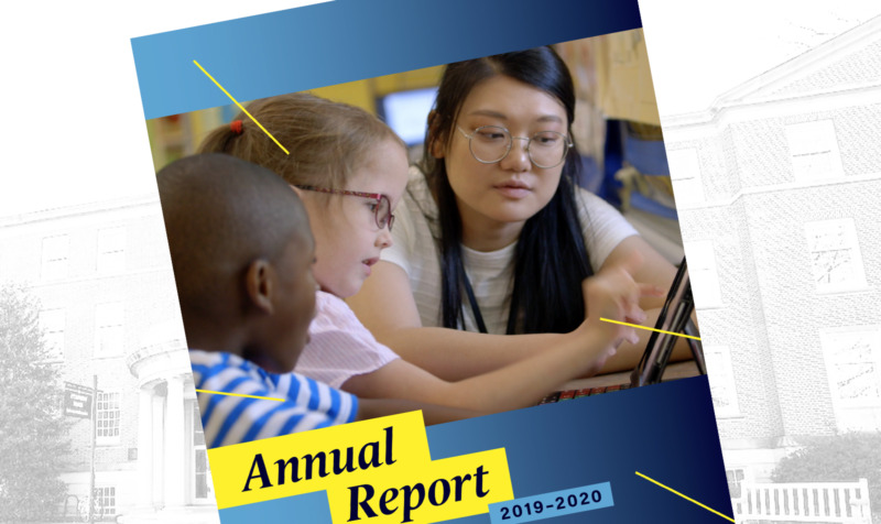 Annual Report cover image of elementary school teacher and students
