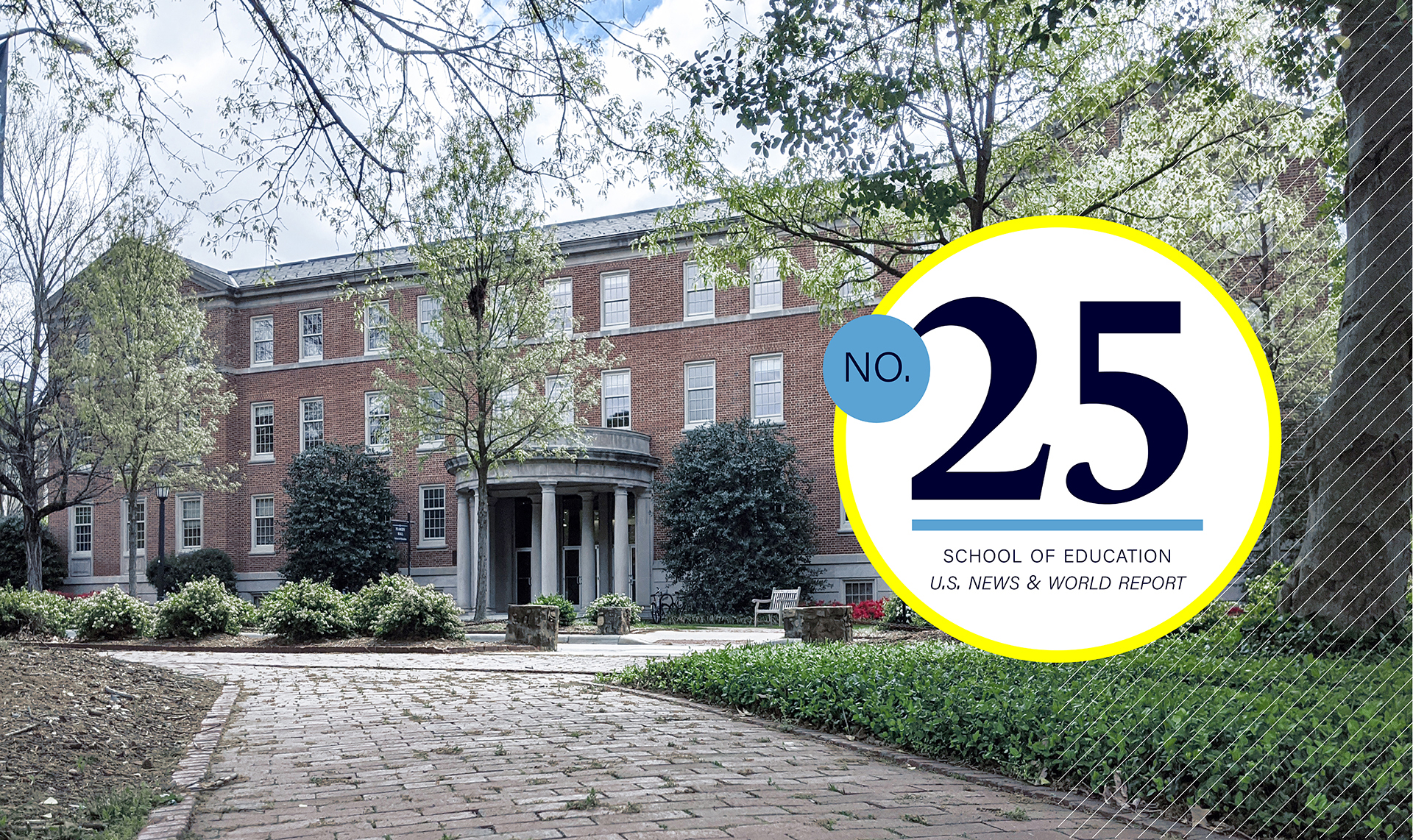 Peabody Hall with text No. 25 school of education ranked by U.S. News & World Report