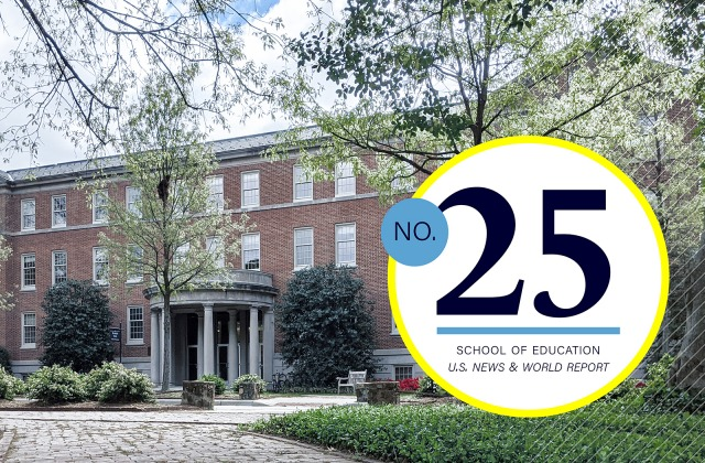 Peabody Hall with numeral 25 indicating new ranking in U.S. News and World Report graduate rankings