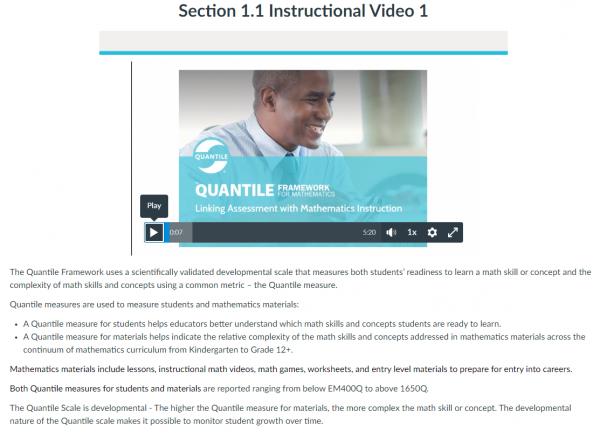 Screen Shot of MetaMetrics' Quantile Certification Course